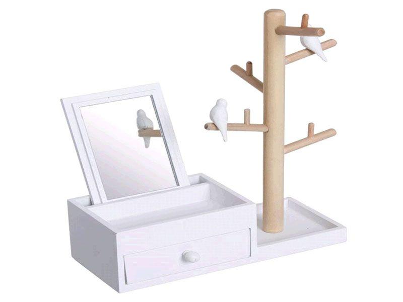 Joyero blanco madera con soporte para bisutería