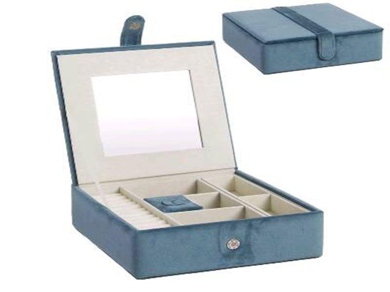 Joyero azul terciopelo con 6 compartimentos y espejo