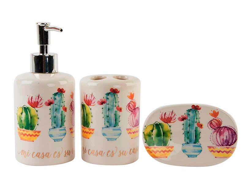 Set de juego de porcelana para el baño con decoración de cactus por todas  sus caras y la frase
