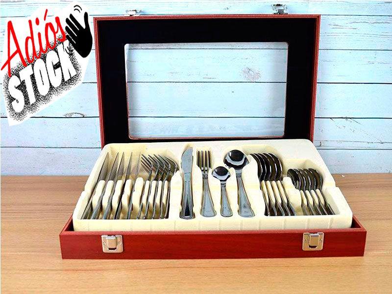 Juego de cubertería acero inox 24 pc en preciosa caja de madera con acabado en lacado