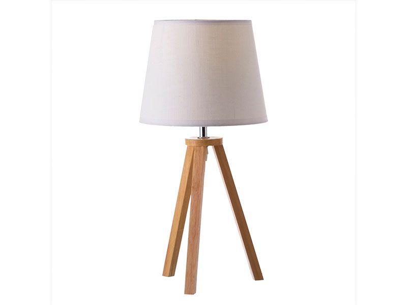 Lámpara  de madera con pantalla de tela y en color blanco 20x20x41.50