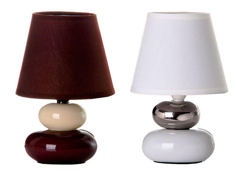 423d26302836 Lámpara para mesitas de noches o cómodas con decoración de piedras marrón y  blanca o plata y blanco realizadas en cerámica