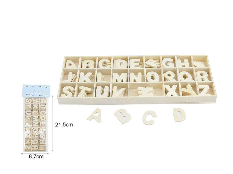 caja con letras de madera abecedario