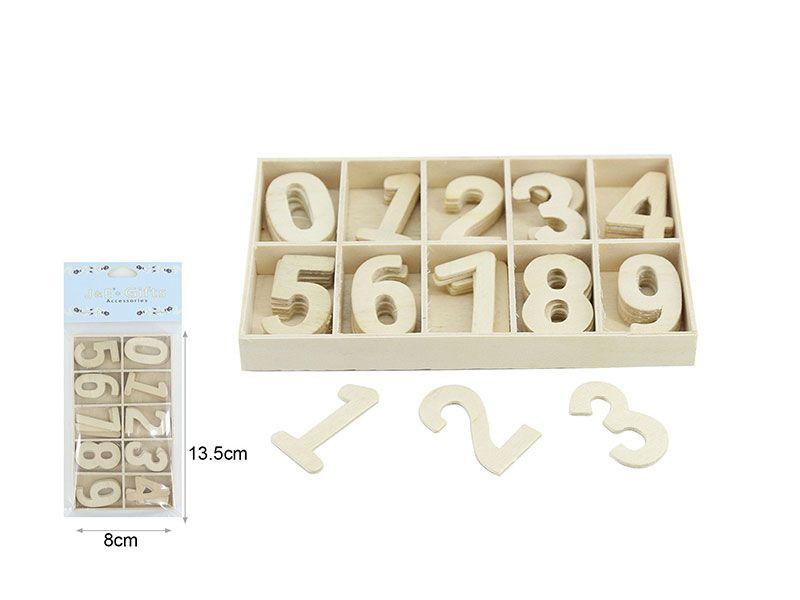 Paquetes de números de madera del 0 a 9
