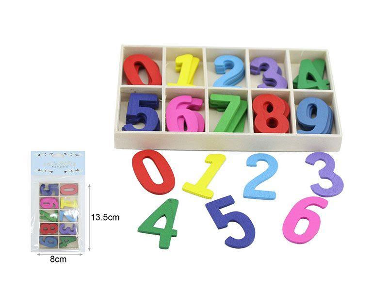 Paquetes de números de madera de colores 0 a 9