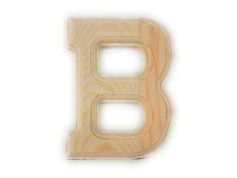 Elegante letra B del abecedario castellano realizada en madera maciza de primera calidad