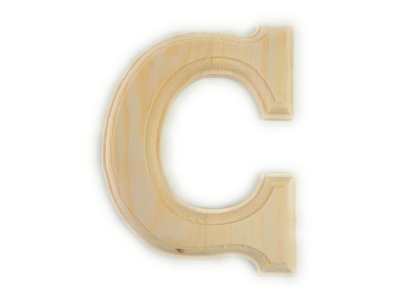 Elegante letra C del abecedario castellano realizada en madera maciza de primera calidad