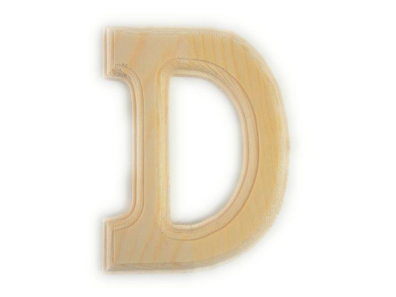 Elegante letra D del abecedario castellano realizada en madera maciza de primera calidad