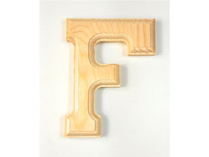 Elegante letra F del abecedario castellano realizada en madera maciza de primera calidad