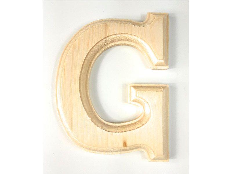 Elegante letra G del abecedario castellano realizada en madera maciza de primera calidad