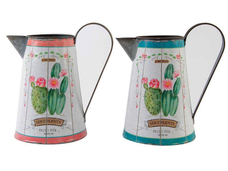 Jarra/Regadera metal cactus envejecido 2 colores