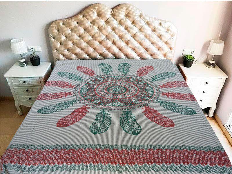 Tela mandala 100% algodón en color blanco y con atrapasueño en color verde y rojo