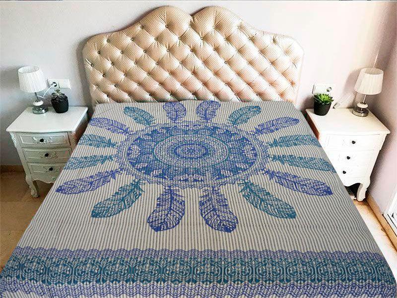 Tela mandala 100% algodón en color blanco y con atrapasueño en color verde y azul