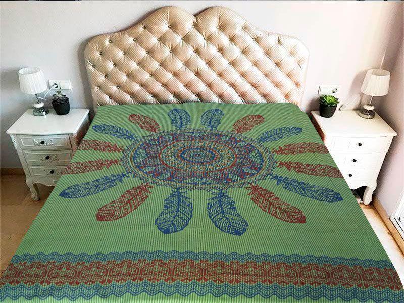 Tela mandala 100% algodón en color verde y con atrapasueño en color azul y rojo