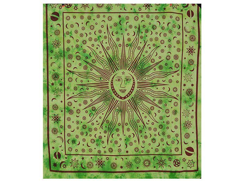 Tapizde mandala algodón verde desgastado con sol, luna y planetas