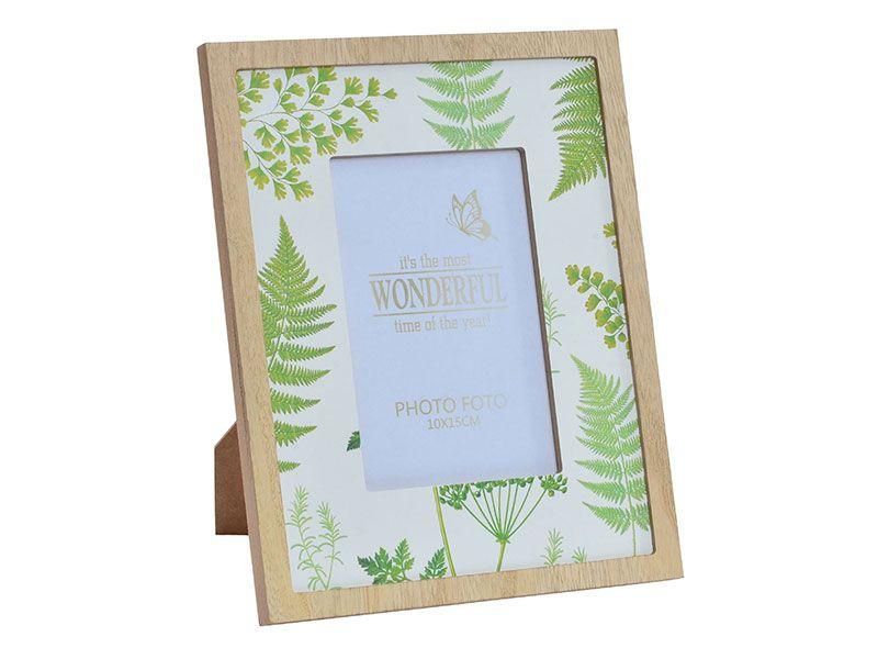 Marcos de foto o portafotos disponible en dos tamaños (10x10 y 15x15) con decoración de diferentes tipos de hojas dentro de fondo blanco