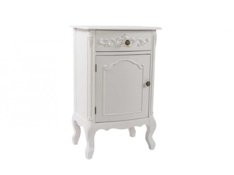Mesa noche madera blanco 1 cajon 1 tapa