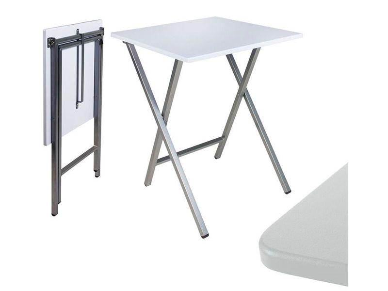 Mesa cuadrada de color blanco plegable 48X48X65 centímetros