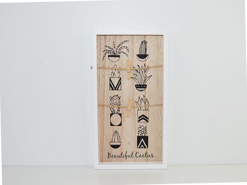 Mini panel madera cuelga fotos con pinza blanco cactus