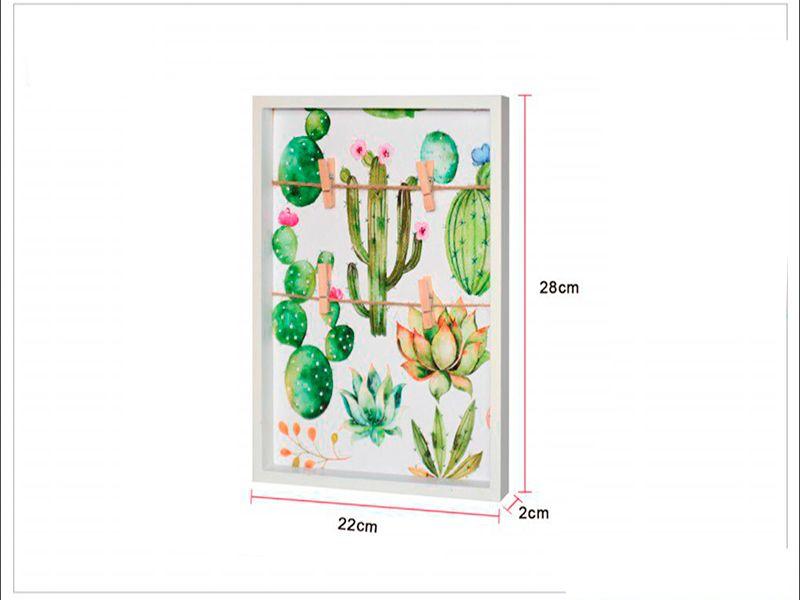 Mini panel portafotos con pinzas estilo cactus