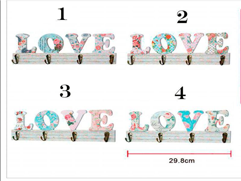 Perchero de madera love 4 modelos 29.5x10 Centímetros