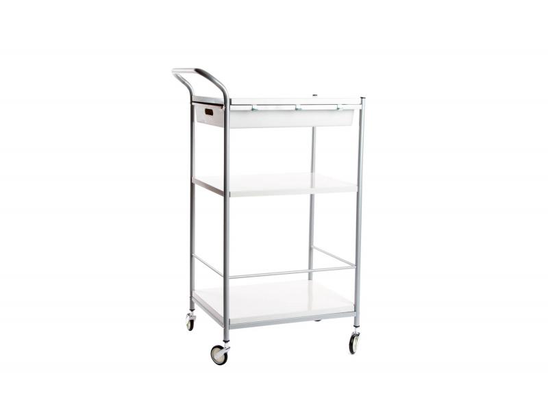 Mueble de servicio de madera y metal con ruedas blanco for Muebles de cocina con ruedas