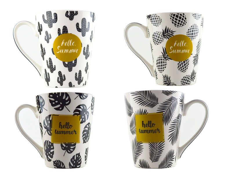 Mug porcelana 12x9x11 390 ml HELLO SUMMER 4 modelos 390 ml