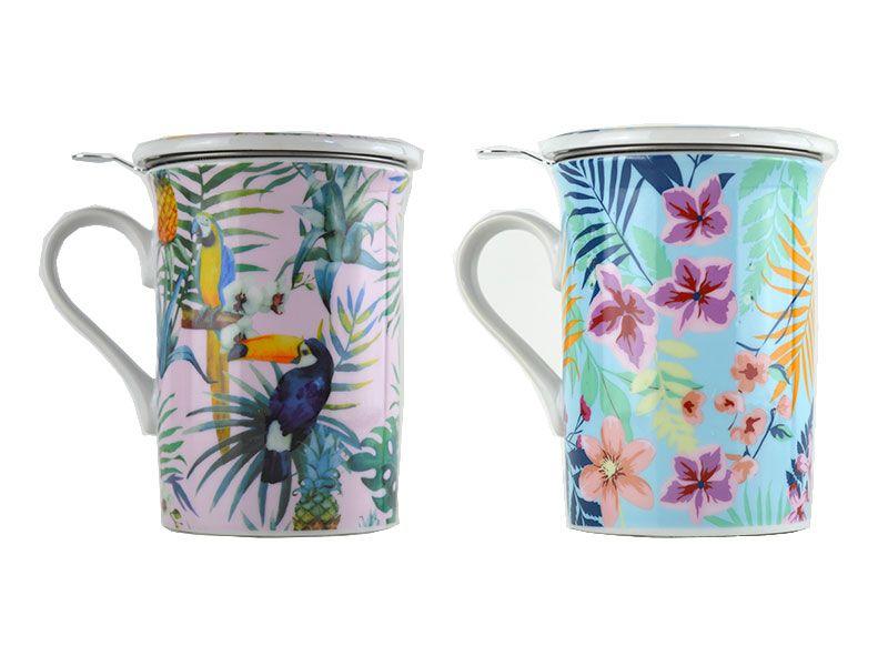 Mug infusiones porcelana 280 cc tropical 2 modelos