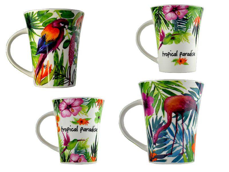 Mug porcelana 11x8x10.5 360ml diseño tropical con distintas aves tropicales