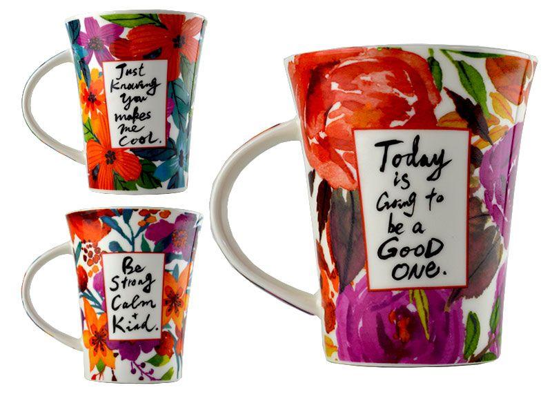 Mug porcelana 11x8x10.5 360ml diseño flores tropicales