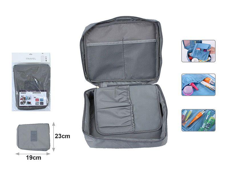 Neceser color gris de viaje Organizador de accesorios de baño de cosméticos afeitado, kit y líquidos aprobados por la seguridad de los grandes aeropuerto