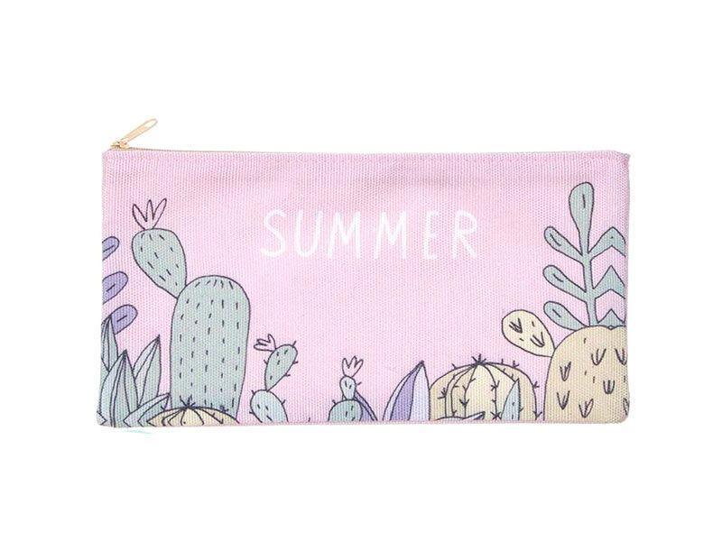 Neceser porta lápices rosa cactus 25x14 Centímetros