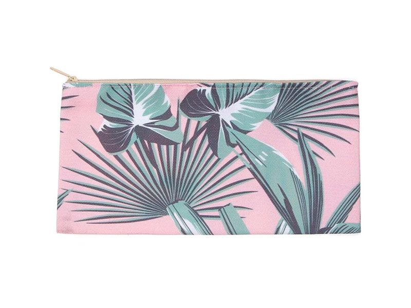 Neceser porta lápices rosa tropical 24x14 Centímetros