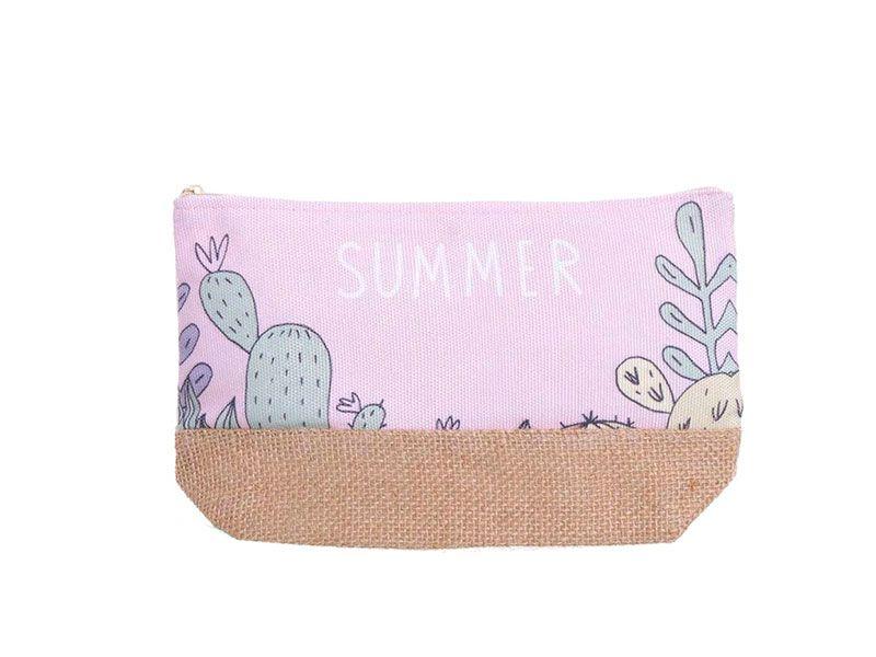 Neceser canvas summer cactus rosa 24x7x14