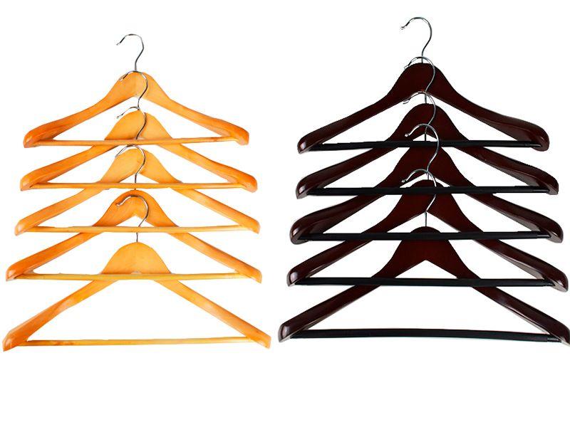 Pack de 5 Perchas madera para chaqueta 2 Colores