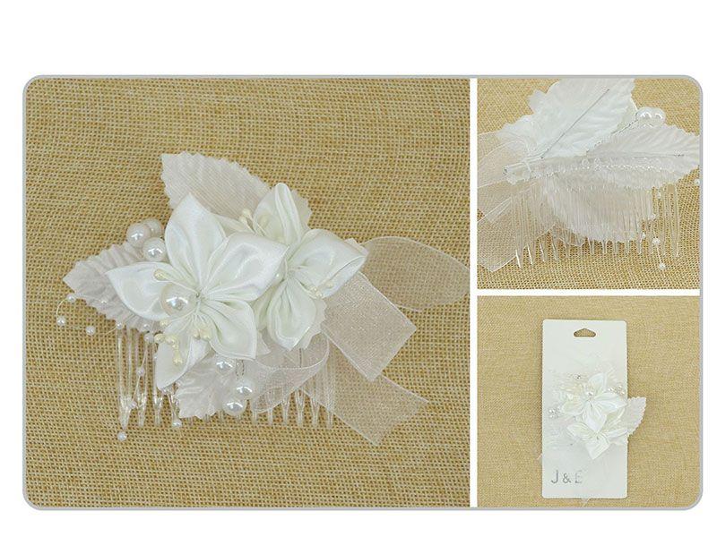 Peineta para el cabello redonda blanca con flor decorativa