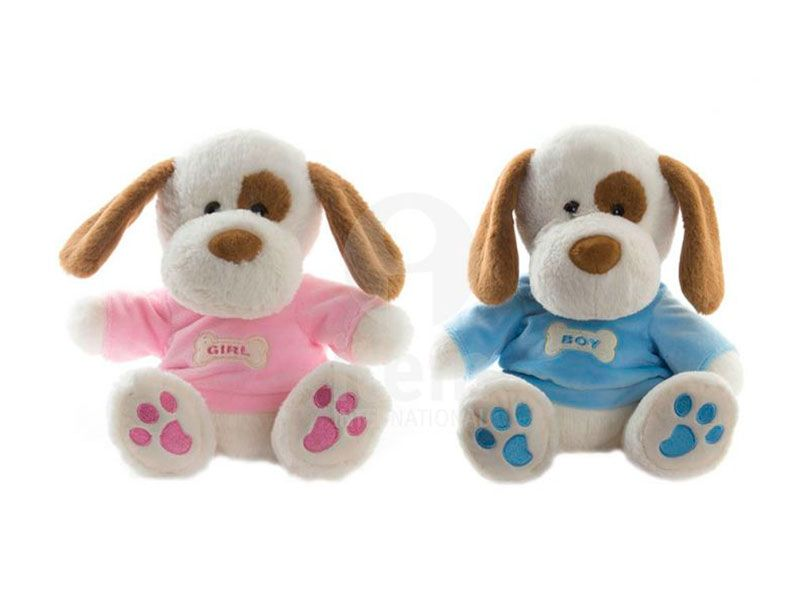 Peluche perro rosa o azul poliéster 22 cm