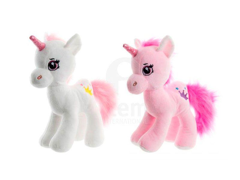 Peluche unicornio rosa o blanco poliester