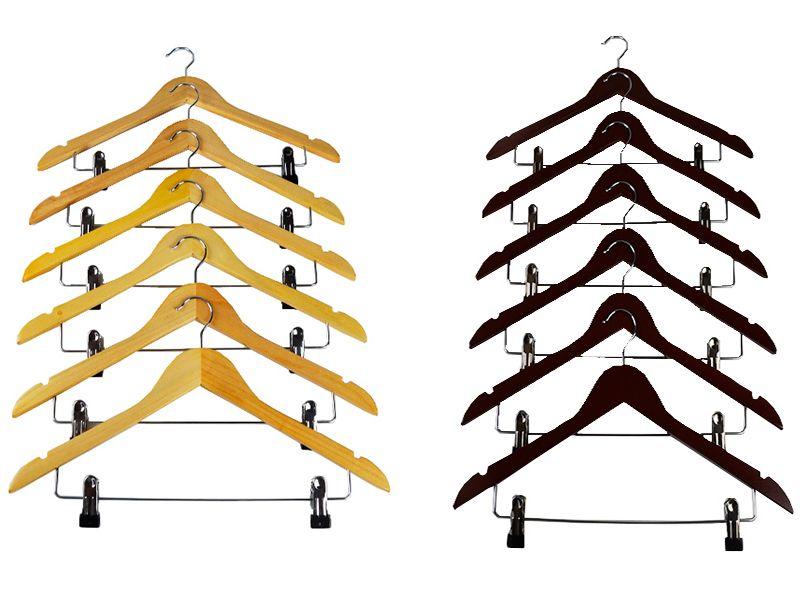 Set de 6 perchas de madera con pinza para pantalones colo natural o caoba