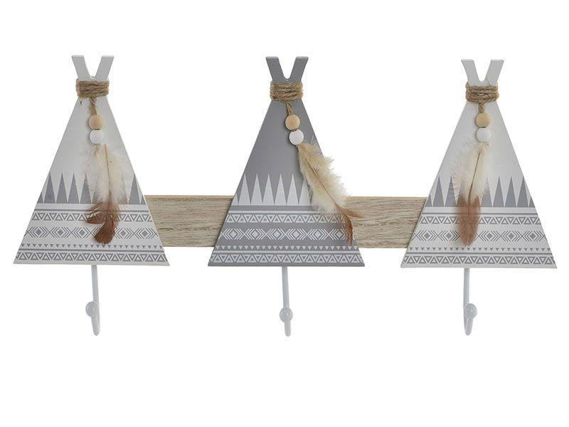 Perchero madera tipi 3 soportes 38x5,5x17,3 cm