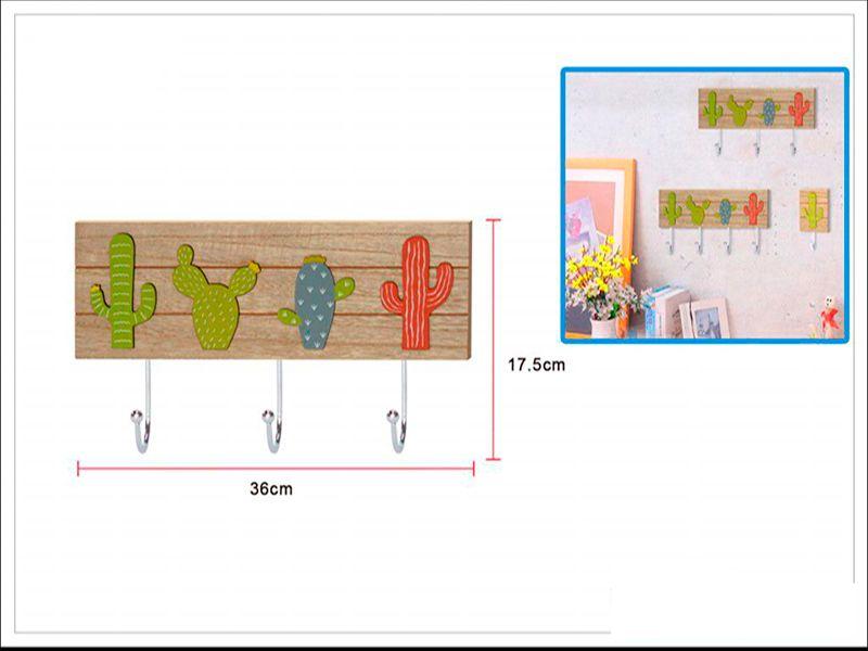 Perchero de pared madera estilo cactus 3 soportes