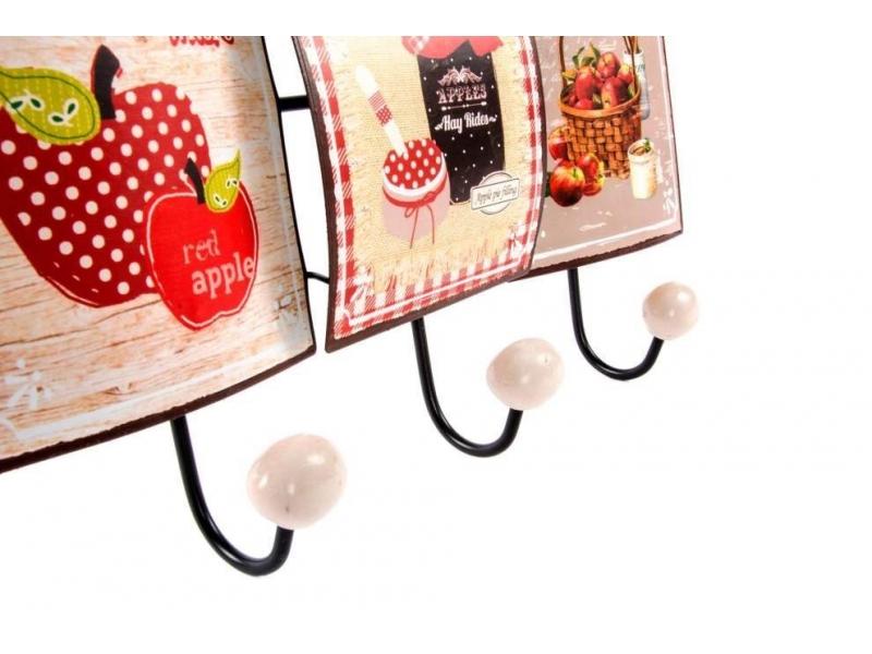 Perchero para pared de metal frutas 34x6x21 for Perchero para cocina