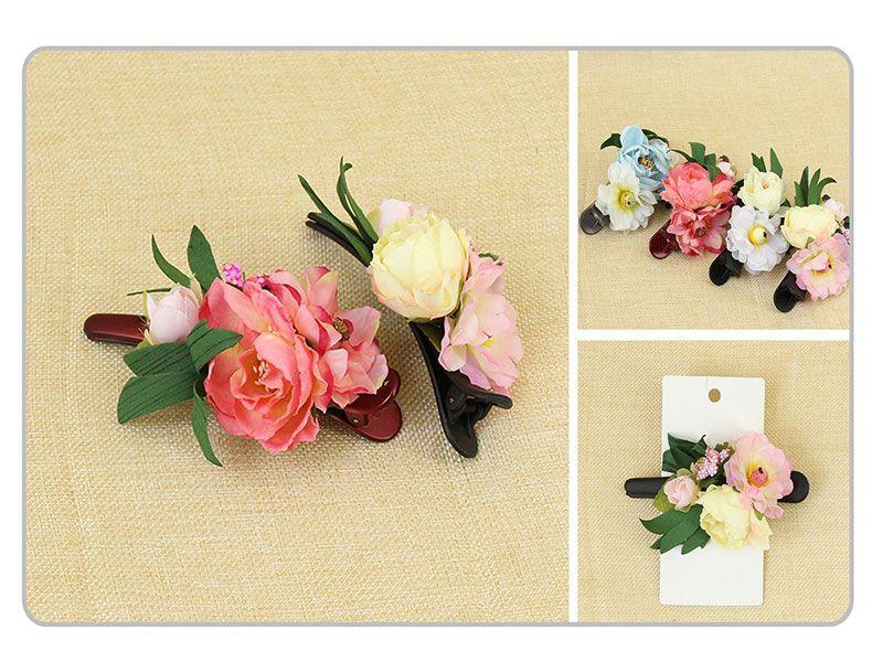 Pinza para pelo decorado con flor de rosa