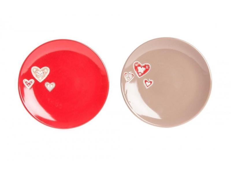 Plato Cerámica Corazón Relieve 27 cm 2 Colores