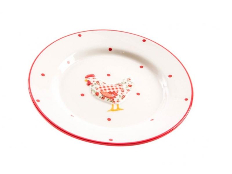 Plato de Cerámica Gallina Roja 20 cm