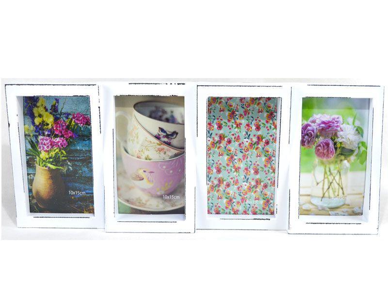 Magnífico portaretrato multiple para 4 fotos realizado en pvc blanco ...