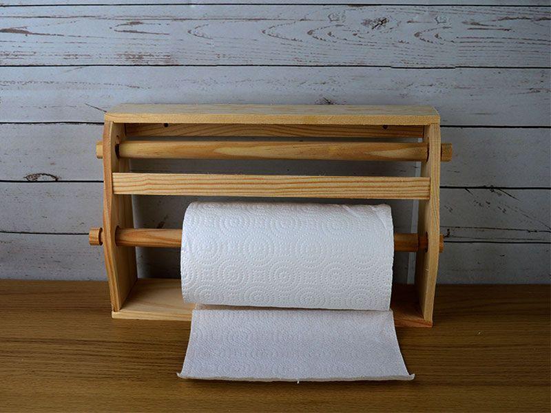 Portarrollo doble de madera para pared de cocina euros - Portarrollos cocina pared ...
