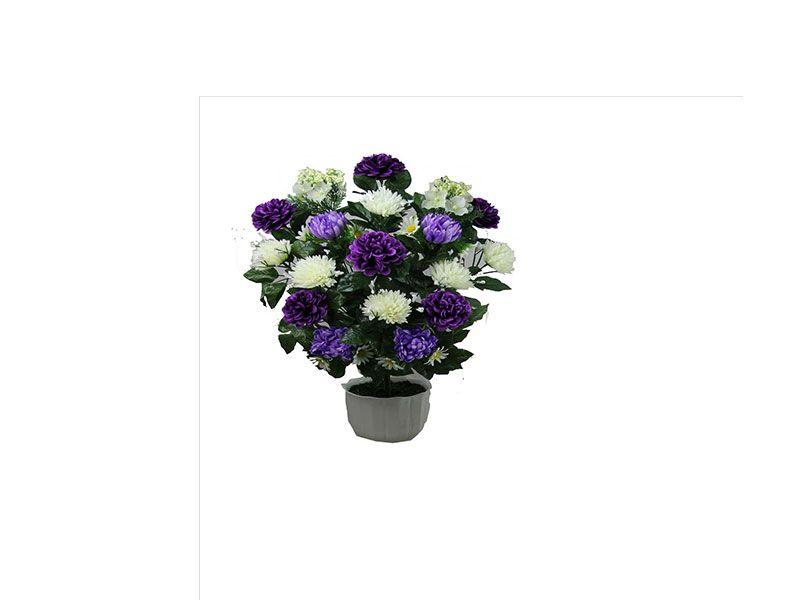 Ramo con 18 unidades de dalias crisantemos y hortensias de color lila y blanco