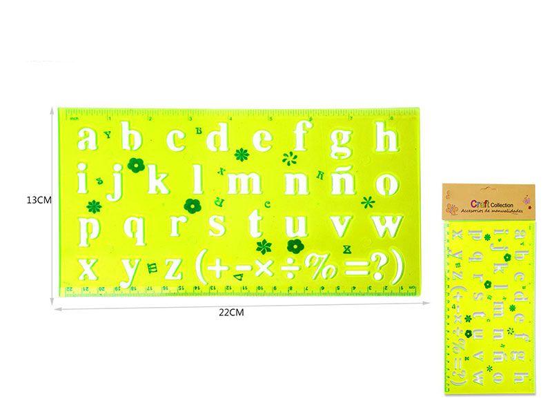 Regla de 13 cm de ancho y 22 cm de largo personalizada con el abecedario en color pistacho