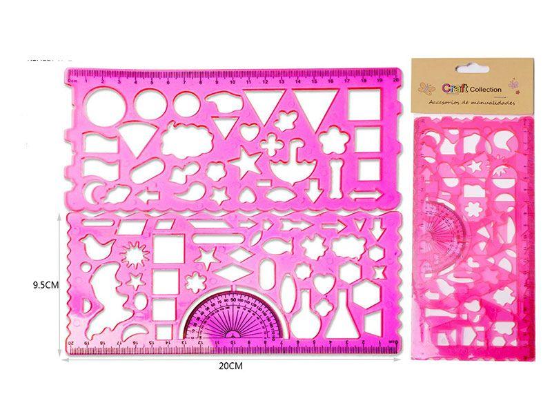 Set de 2 pcs regla color fucsia con figuras geométrica para el desarrollo del artista de los mas pequeños de la casa